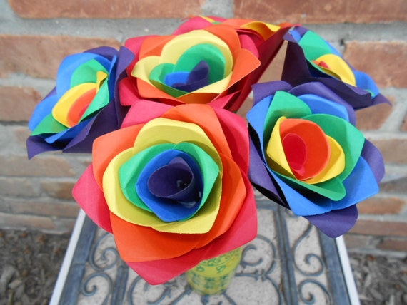 Rainbow Roses, Half A Dozen. Red, Orange, Yellow, Green, Blue, Purple.  OTHER colors available as well. Wedding, Paper Flower Bouquet