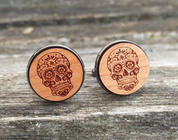 Sugar Skull Cufflinks. Wedding, Men, Groom Gift, Anniversary, Birthday. Silver, Gold, Rose Gold, Gunmetal. Custom Orders Welcome.