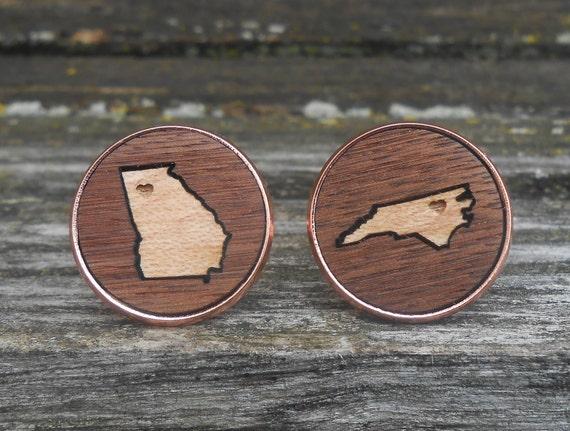 Wood State Cufflinks. CHOOSE YOUR STATES & Wood. Wedding, Groom, Anniversary, Groomsmen Gift, Dad, Birthday, Valentine, Christmas