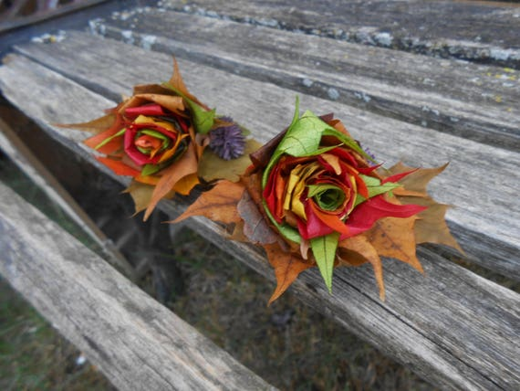 Maple Leaf Corsages. CHOOSE YOUR COLORS. Wrist or Pin-On. Weddings, Prom, Homecoming, Bridesmaid, Flower Girl, Mother of the Bride