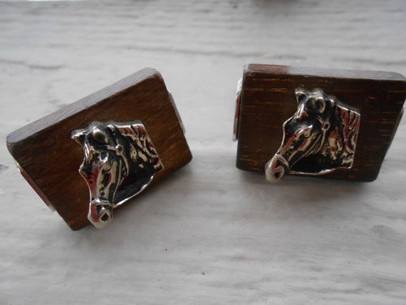 Vintage Horse Cufflinks. Wedding, Men's Christmas Gift, Dad, Groomsmen, Anniversary. Rustic, Barn Wood.