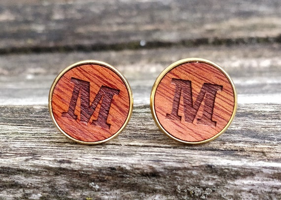 Custom Monogram Cufflinks. Personalized Monogram. Wedding, Men, Groom Gift, Fifth Anniversary Gift, Valentine's Day. Wood. Groomsmen