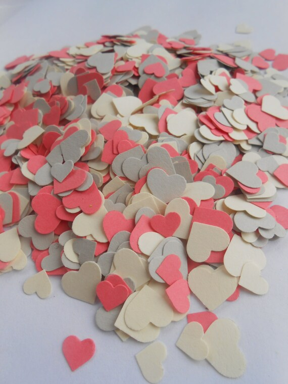 Over 2000 Mini Confetti Hearts. IVORY, CORAL & GREY Mix. Weddings, Showers, Decorations. Pink