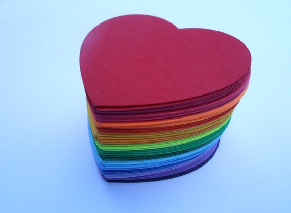 100 Rainbow Hearts OR Flowers, 2 inch. Other Colors And Sizes Available. Custom Orders Welcome. ROYGBIV
