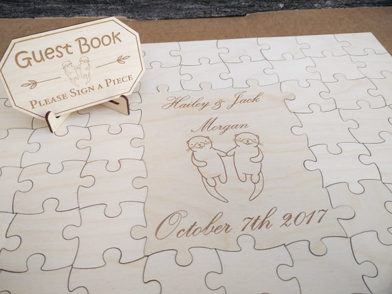 Wood Guest Book Puzzle. Personalized, Guest Book Alternative. Wedding, Shower, Party. Laser Engraved. Custom, Bride Groom