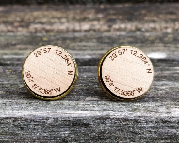 Custom Coordinate Cufflinks. Personlized Monogram. Wedding, Men, Groom Gift, Fifth Anniversary Gift, Valentine's Day. Wood. Groomsmen