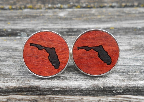 Wood State Cufflinks. CHOOSE YOUR STATE. Inlay, Laser Engraved. Wedding, Men's, Groomsmen Gift, Dad. Custom Orders Welcome. Florida