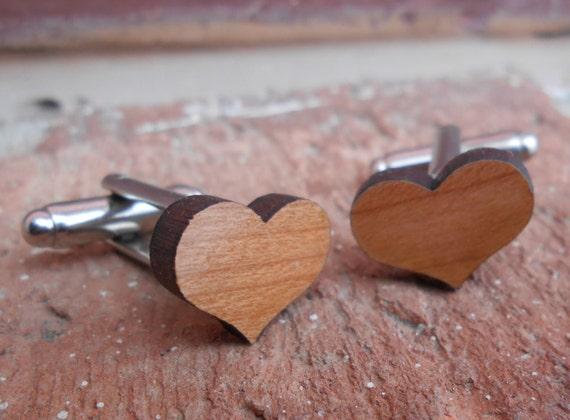 Wood HEART Cufflinks. Wedding, Men's, Groomsmen Gift, Dad. Silver Plated. Custom Orders Welcome.
