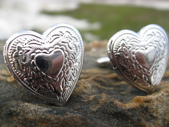 HEART LOCKET Cufflinks. Wedding, Valentine Gift, Men, Cristmas, Anniversary, Dad. Photo Cufflinks