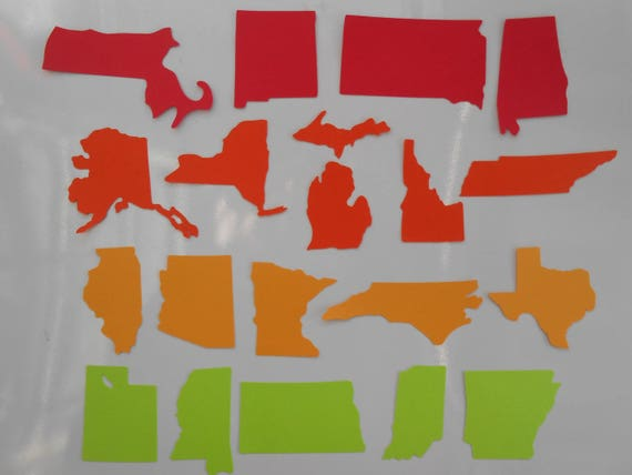 100 State Shapes. CHOOSE Your STATE & COLORS. 3.5 inch. Escort Cards, Place Tags, Gift Tags, Wishing Tree.