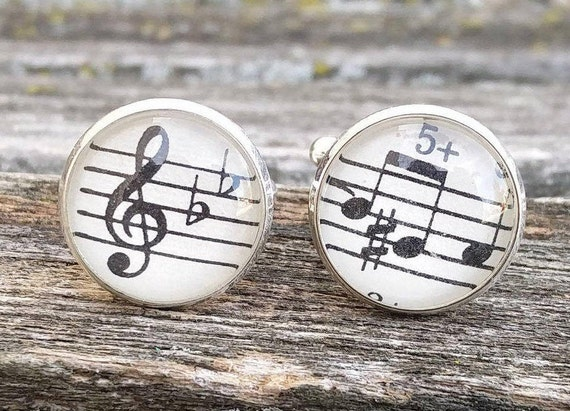 Vintage Sheet Music Cufflinks. Wedding, Men's Christmas Gift, Dad. Silver Plated. CUSTOM ORDERS WELCOME