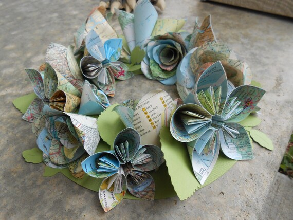 Vintage Map Wreath. Wedding Decoration, Candle Holder. Custom Orders Welcome.