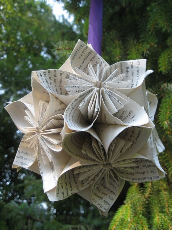 HUGE Book Kusudama Ball, Origami Paper Flowers. Great Gift or Decoration. CUSTOM ORDERS Welcome.