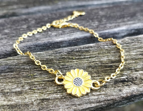 Sunflower OR Daisy Bracelet. Your Choice! Anniversary Gift, Birthday Gift, Bridesmaid Gift, Gift For Mom