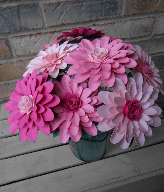 Gerber Daisy Paper Flower Bouquet. CHOOSE Your Colors. Gerbera. Centerpiece, Wedding, Anniversary, Birthday Gift