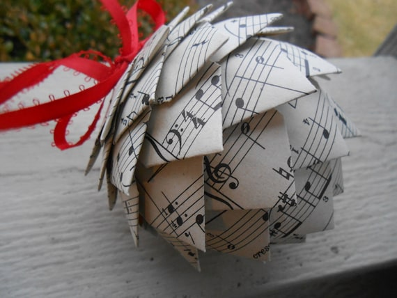 Vintage Sheet Music Ornament. Decoration, Christmas, Gift, Birthday, Anniversary, Wedding.