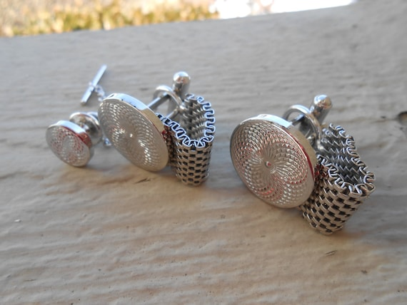 Dad. Father/'s Day Vintage Abstract Silver Cufflinks /& Lapel Pin Valentines Wedding Men/'s Groomsmen Gift
