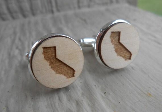 Wood STATE Cufflinks. CALIFORNIA. Laser Engraved. Wedding, Men's, Groomsmen Gift, Dad. Custom Orders Welcome. LA, San Francisco, Giants