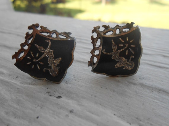 Vintage Sterling Silver SIAM Earrings. Niello. Clip On. Wedding, Mom, Anniversary, Gift. CUSTOM ORDERS Welcome