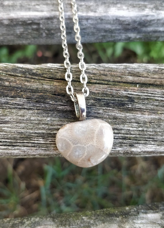 Petoskey Stone Necklace. Fossilized Coral. Wedding, Christmas Gift, Anniversary Gift. Michigan