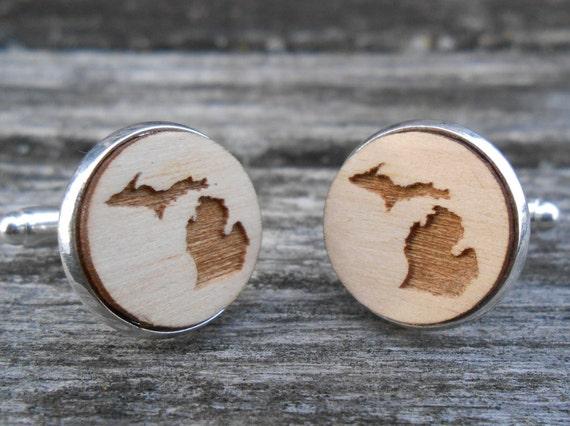 Wood STATE Cufflinks. Michigan. Laser Engraved. Wedding, Groom, Anniversary, Birthday, Groomsmen Gift, Dad. Wolverines.