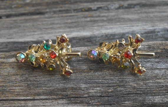 Vintage Christmas Tree Earrings. Gold Tone, Rhinestones. Women's Christmas Gift, Mother's Day, Anniversary.
