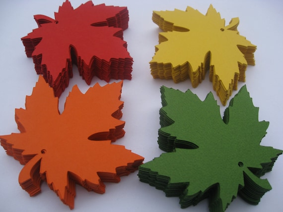 75 Maple Leaves, 5.5 inch. CHOOSE YOUR COLORS. Wedding, Favor, Escort, Place Card, Wishing Tree Tag.