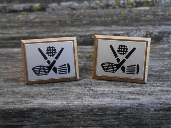 Vintage Golf Cufflinks . Wedding, Men's, Groomsmen Gift, Dad, Groom, Anniversary. Birthday, Father's Day, Ball, Tee, Club, Glove, Bag