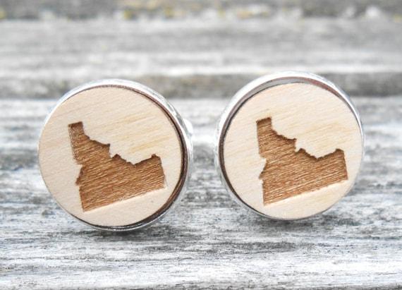 Wood STATE Cufflinks. IDAHO. Laser Engraved. Wedding, Men's, Groomsmen Gift, Dad. Custom Orders Welcome. Boise, Potato