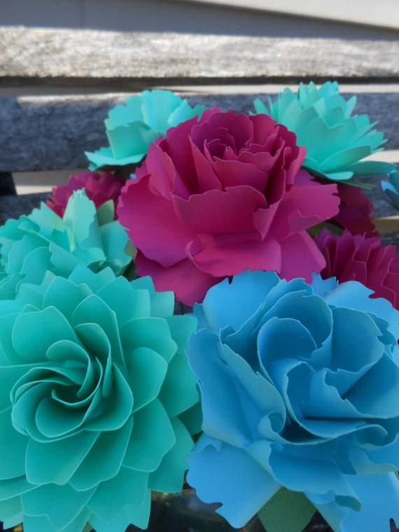 12 Dahlias & Wild Roses. CHOOSE YOUR COLORS.  Handmade Bouquet. Other Colors Available. Custom Orders Welcome.