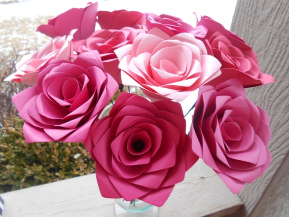 Dozen Paper Roses. CHOOSE YOUR COLORS! Anniversary, Birthday, Valentine's Day, Wedding, Mother's Day, Housewarming
