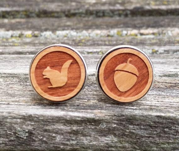 Squirrel & Acorn Cufflinks. Choose Your Color. Gift For Dad, Groomsmen Gift, Outdoor Wedding, Rustic.  Laser Engraved.