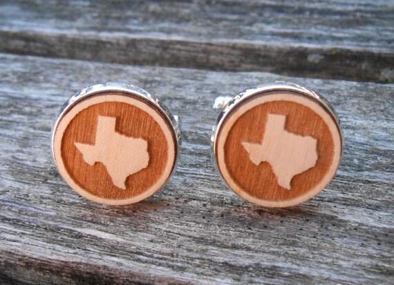 Wood STATE Cufflinks. TEXAS. Laser Engraved. Wedding, Men's, Groomsmen Gift, Dad. Custom Orders Welcome. Dallas, Austin, Longhorns, Cowboy