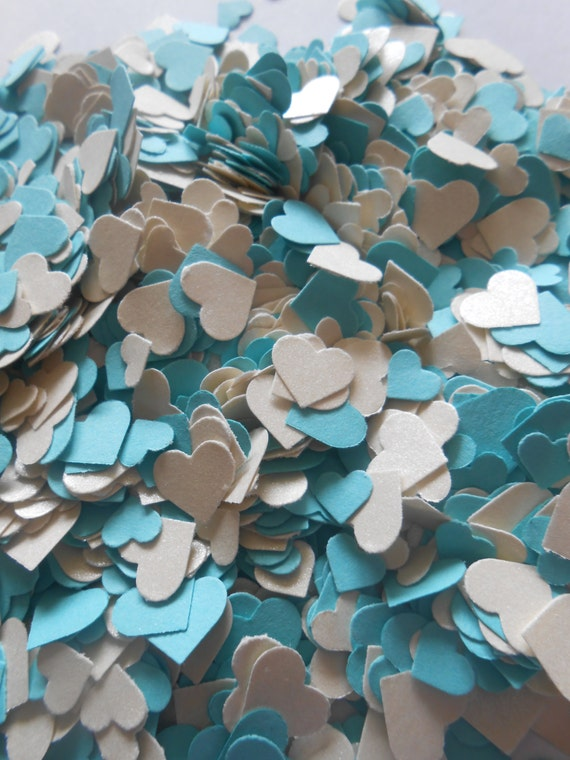 Over 2000 Mini Confetti Hearts. Turquoise, Metallic White. Weddings, Showers, Decorations. ANY COLOR Available.