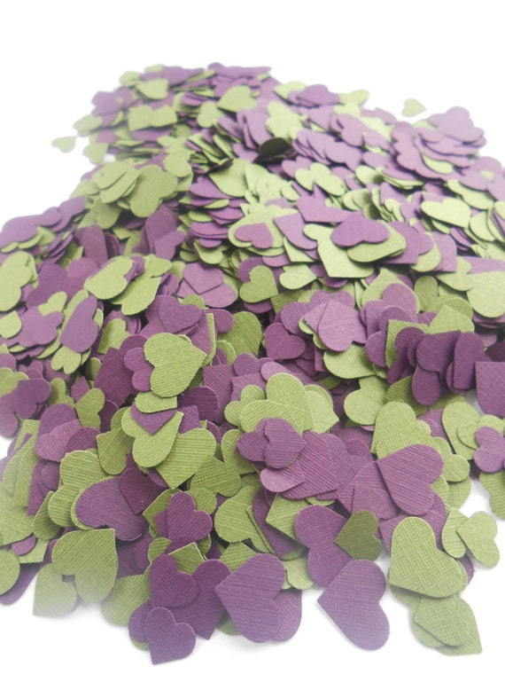 Over 2000 Mini Confetti Hearts. Plum Purple & Avacado Green Mix. Weddings, Anniversary, Graduation, Shower, Decorations.