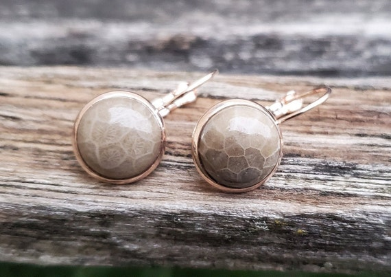 Petoskey Stone Earrings. Dangling Earrings. Fossilized Coral. Wedding, Anniversary Gift, Christmas Gift, Gift For Mom, Birthday Gift.