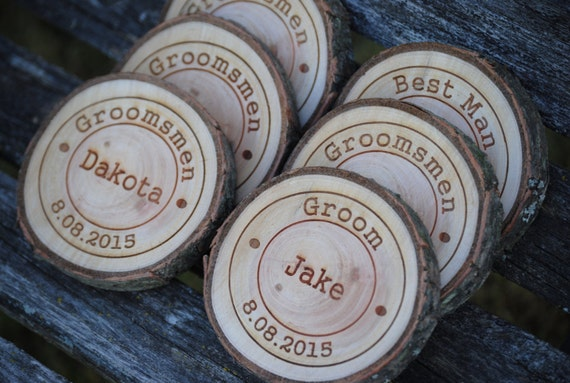 Personalized Coasters. Groomsmen Gift, Groom, Anniversary, Birthday, Dad. Rustic Favor. CHOOSE YOUR WORDS.