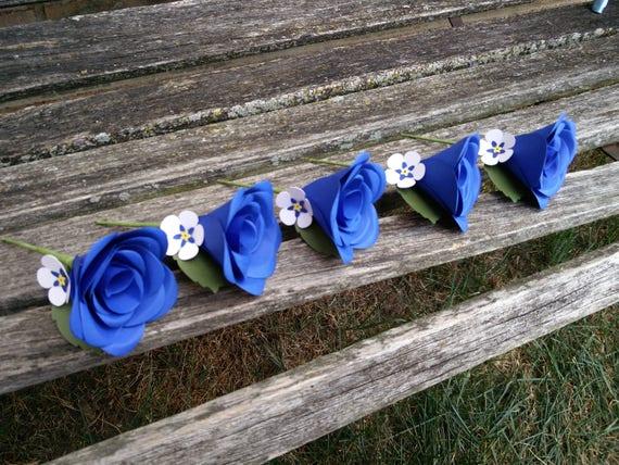 Custom Boutonnieres. Groom, Groomsmen, Wedding. Paper Rose, Forget Me Not