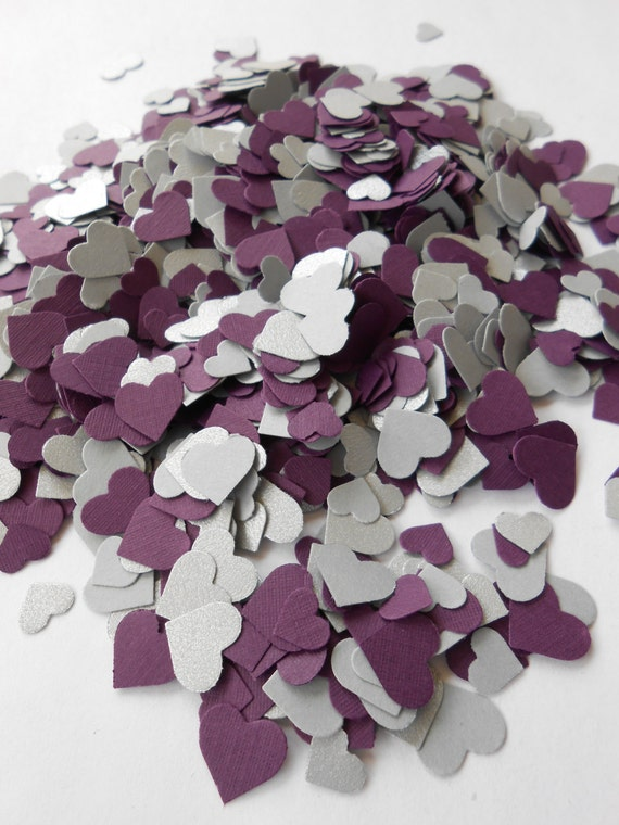 Plum & Silver 2000 Mini Confetti Hearts.  Weddings, Showers, Decorations. Or Choose Your Colors.