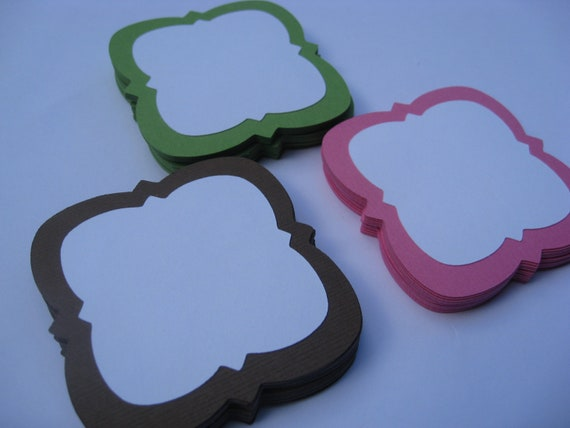 50 Layered 'Emma' Tags. 2 inch. CHOOSE YOUR COLORS. Wedding, Escort Card, Seating, Place Card.