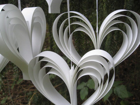 6 White Heart Decorations. Garland, Wedding Decor. Other Colors Available. Custom Orders Welcome.