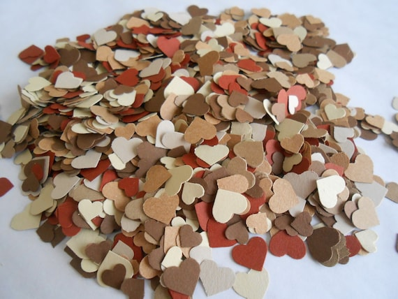 Over 2000 Mini Confetti Hearts. Shades of Kraft, Brown, Tan, Beige. Weddings, Showers, Decorations. ANY COLOR Available.