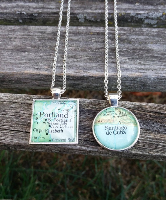 Custom Map Necklace.  CHOOSE YOUR PLACE.  Wedding,  Anniversary, Christmas Gift, Citizenship, Bridesmaid, Bridal.