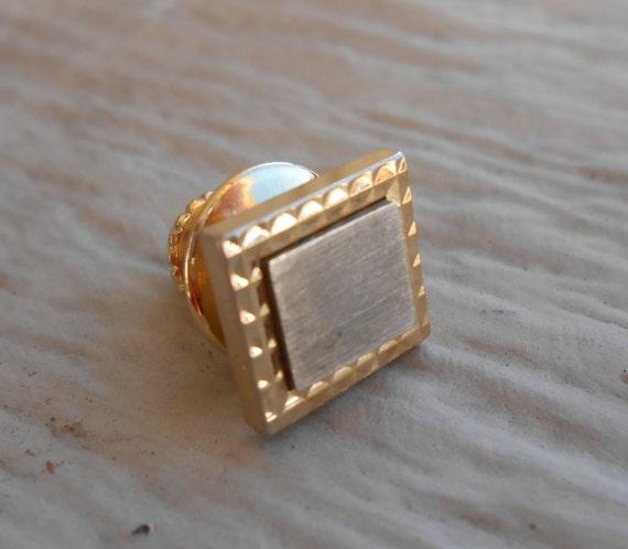 Vintage Gold Square Lapel Pin. Wedding, Men's, Groomsmen Gift, Dad, Mom. Small