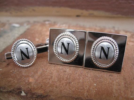 """Vintage Monogram """"N"""" Cufflinks & Tie Clip . Silver And Black. Wedding, Men's Christmas Gift, Dad. CUSTOM ORDERS Welcome"""