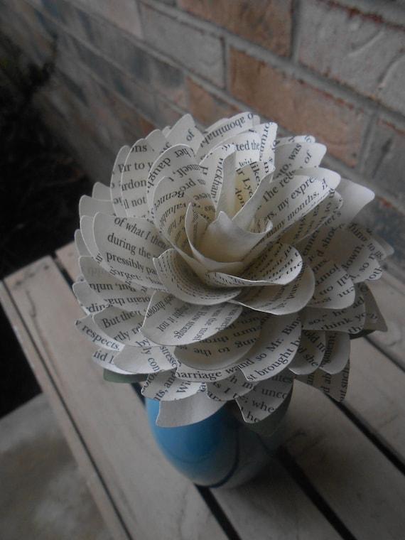 Pride & Prejudice Book Dahlia. Unique Gift, Paper Flower, Anniversary, Birthday, Wedding Favor, Mother's Day, Valentine.