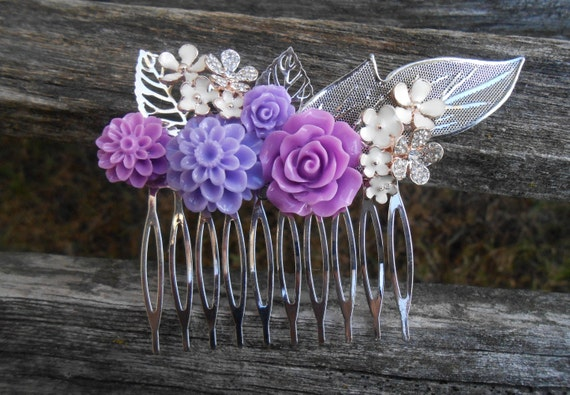 Ivory & Purple Hair Comb, Bridal, Bridesmaid Gift.  Shabby Chic Hair Piece. Flower Girl. Mom, Anniversary, Birthday. Lavender, Lilac, Iris