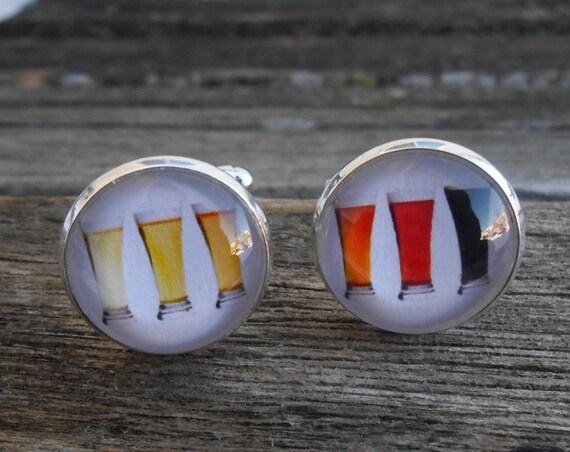 Beer Rainbow Cufflinks. CHOOSE YOUR COLOR. Wedding, Groom, Groomsmen Gift, Dad. Pint, Ale, Stout, Wine, Guiness