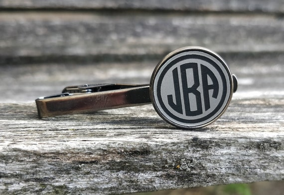 Monogram Tie Clip. Laser Engraved. Wedding, Groom, Groomsmen Gift, Dad. Anniversary, Birthday
