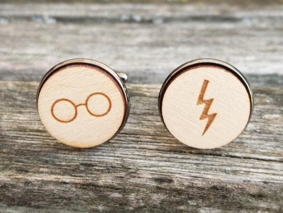 Lightning & Glasses Cufflinks. Wedding, Men, Groom Gift, Anniversary, Birthday. Silver, Gold, Rose Gold, Gunmetal. Custom Orders Welcome.